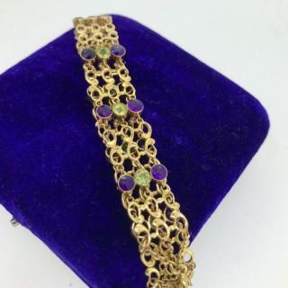 Amethyst and Peridot Bracelet