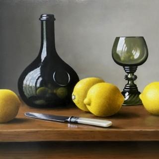 Wine Bottle with Lemons