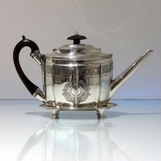 18th Century Antique George III Sterling Silver Teapot On Stand London 1799 James & Elizabeth Bland