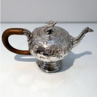 Mid 18th Century Antique George III Sterling Silver Rococo Teapot London 1763 William & Robert Peaston