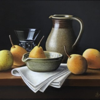 Stoneware Jug with Pears