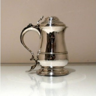 Mid 18th Century Antique George II Sterling Silver Tankard & Cover London 1756 Robert Albin Cox
