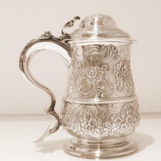 Mid 18th Century Antique George II Sterling Silver Lidded Tankard London 1746 Richard Bayley