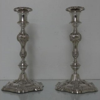 19th Century Antique Victorian Silverplated Pair Of Candlesticks Walker & Hall
