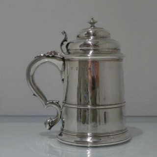 Early 18th Century Antique George I Britannia Silver Lidded Tankard London 1719 Henry Jay