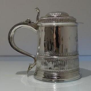 Early 18th Century Antique Queen Anne Britannia Silver Lidded Tankard London 1704 Humphrey Payne