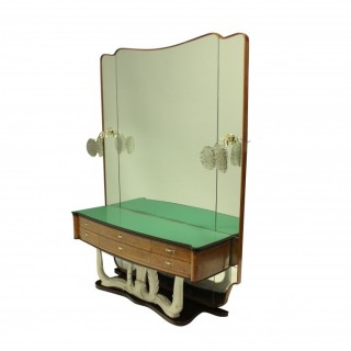 A STYLISH ITALIAN MID-CENTURY HALL CONSOLE WITH MIRROR