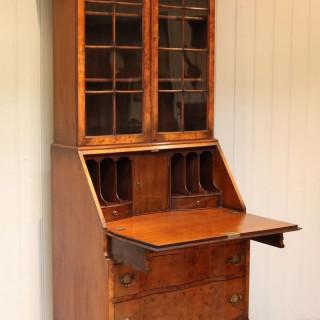 Burr Walnut Queen Anne Bureau Bookcase