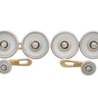 0.24 ct Diamond and Hardstone Cufflink and Stud Set - Antique Circa 1920