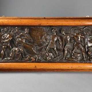 late 19th century fine quality framed bronzed plaque of a Classical battle scene, with 'Elkington' makers mark
