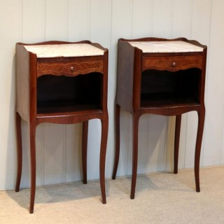 Pair Of French Mahogany Inlaid Bedside Cabinets