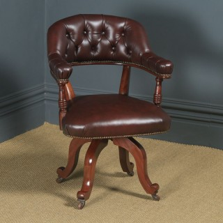 Antique English Victorian Mahogany & Burgundy Red Leather Revolving Office Desk Arm Chair (Circa 1880)