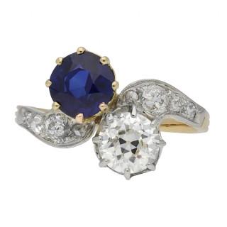 Edwardian sapphire and diamond cross over ring, circa 1910.