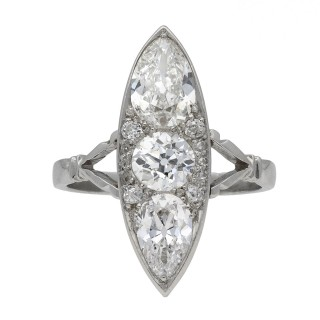 Marquise shaped diamond cluster ring, circa 1920.