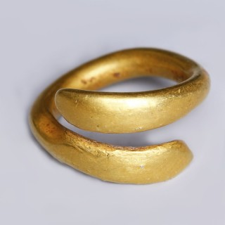 European Bronze Age Single Gold Coiled Ring