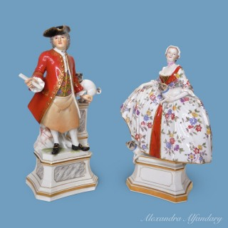 A Pair of  Male and Female Meissen Feeemason Figures