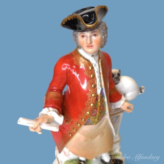 A Pair of  Male and Female Meissen Freemason Figures
