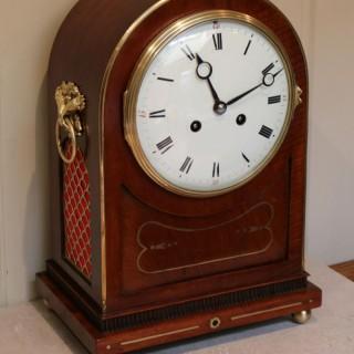 Mahogany And Brass Inlay Mantel Clock