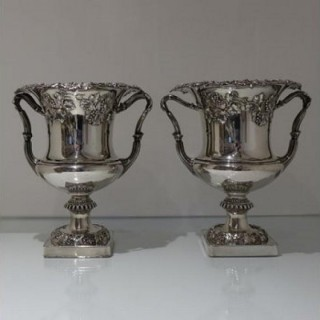 Early 19th Century Pair George IV Old Sheffield Wine Coolers Circa 1820 (Unmarked)