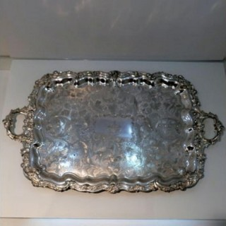 Early 19th Century Antique William Iv Large Old Sheffield Plate Tea Tray Circa 1835