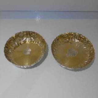 19th Century Antique Victorian Sterling Silver Pair Large Dishes London 1882 Samuel Watton Smith