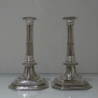 19th Century Antique Victorian Sterling Silver Pair Candlesticks London 1889 Charles Stuart Harris