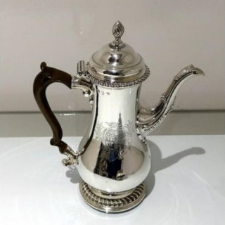 Mid 18th Century Antique George III Sterling Silver Coffee Pot London 1763 Thomas Whipham & Charles Wright