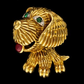 A Delightful 18ct Gold and Gem-Set Dog Brooch by Van Cleef & Arpels cica 1960s
