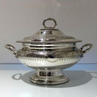 19th Century Antique Victorian Silver Plate Soup Tureen & Cover Circa 1865 Martin Hall & Co