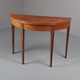 George III Inlaid Mahogany Foldover Table