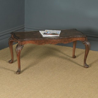 Antique English Queen Anne Style Carved Burr Walnut & Glass Coffee Table (Circa 1920)