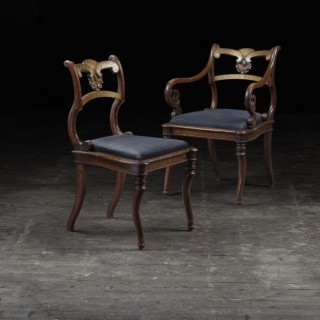 A set of six Scottish Regency grained and brass inlaid chairs