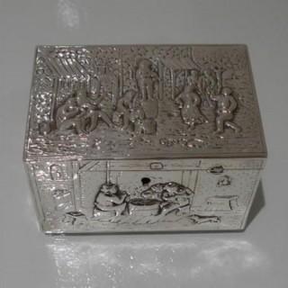 19th Century Antique Victorian Silver Jewellery Box Import Marked Sheffield 1899 Samuel Boyce Landeck