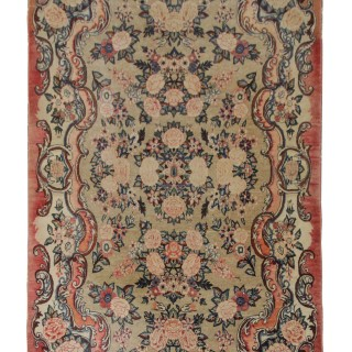 Vintage Farahan Carpet, Hand Made Floral Area Rug- 124x215cm