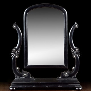 A Scottish Victorian dressing mirror,  made from parrot coal