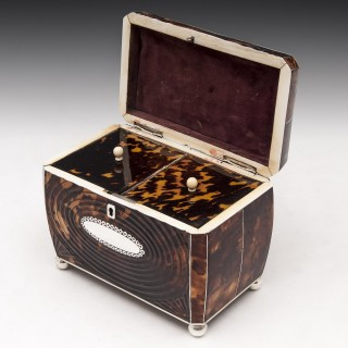Antique Pressed Tortoiseshell Tea Caddy