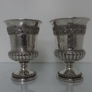 Pair Of George III Sterling Silver Wine Goblets London 1814 William Eaton/Emes & Barnard