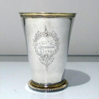 18th Century Antique Large Silver Beaker Probably Baltic Circa 1770 (Maker Fr)