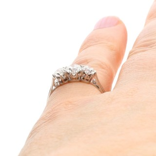 0.97 ct Diamond and 18 ct White Gold and Platinum Set Trilogy Ring - Antique Circa 1930