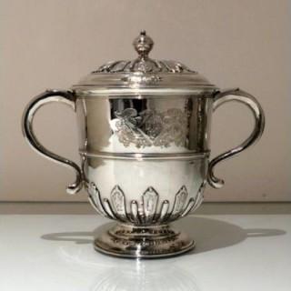 Early 18th Century Antique Queen Anne Britannia Silver Cup & Cover London 1705 Edmund Pearce