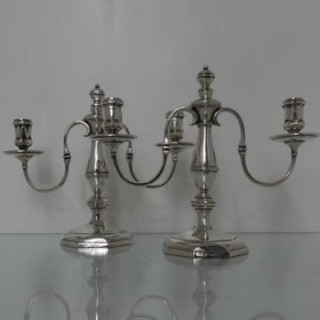Early 20th Century George VI Sterling Silver Pair Candelabra London 1937 Goldsmiths & Silversmiths Co Ltd