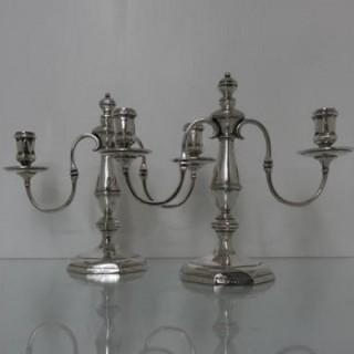 Early 20th Century George VI Sterling Silver Pair Candelabra London 1937 Goldsmiths & Silversmiths Co Ltd