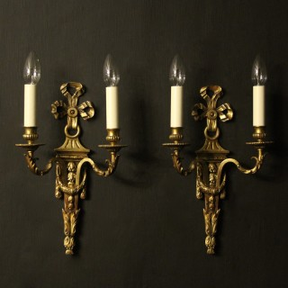 French Pair Of Bronze Antique Wall Lights