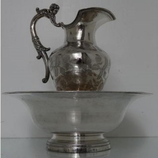 Early 19th Century Silver Spanish Ewer & Basin Circa 1830 (Possibly Earlier)