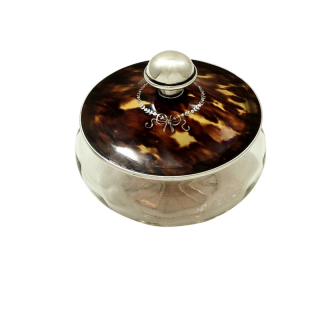 Antique Sterling Silver & Tortoiseshell Vanity / Powder Jar 1926