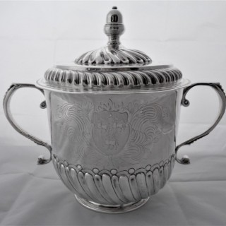 Superb armorial William & Mary silver porringer and cover London 1691 John Austin