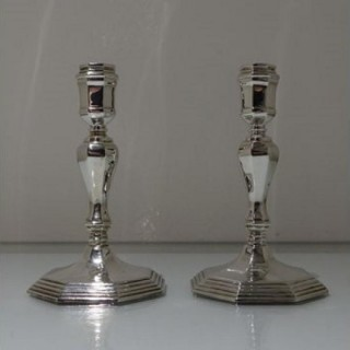 20th Century Modern Sterling Silver Pair Candlesticks London 1963