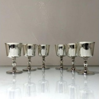 20th Century Modern Sterling Silver Set Six Wine Goblets Birmingham 1970 Barker Ellis Silver Co Ltd
