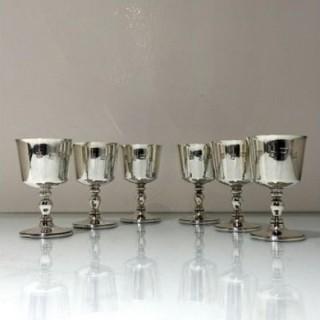 20th Century Modern Sterling Silver Set Six Wine Goblets Birmingham 1970 Barker Ellis Silver Co Ltd