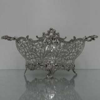 Large Sterling Silver Victorian Pierced Dish London 1898 William Comyns